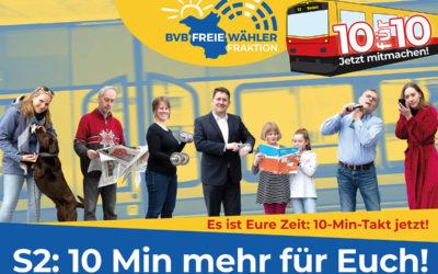 BVB / FREIE WÄHLER Landtagsfraktion reicht Antrag auf schrittweise Einführung des 10-Minuten-Taktes bei S2 ein